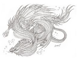 sea serpent lineart by Sunima