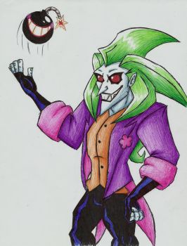 Joker with a Happy Bomb (made with pens) by MileenaKoopa