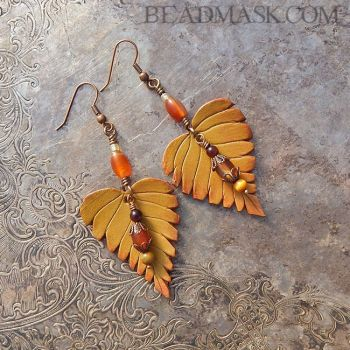 Autumn Birch Leaf Earrings by Beadmask