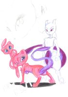 Mew Mewt and Mewtwo by mew-mewtwo