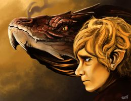 Bilbo and Smaug by PaintedParrott