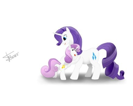 Sweetie Belle and Rarity by Skitsniga