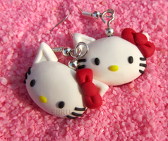 Hello Kitty earrings by Lovely-Ebru