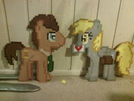 8-bit Doctor and Derpy Wall Decor by ladypixelheart
