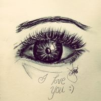 This is what my mind says. 2-minute eye drawing. by ladymonsterette