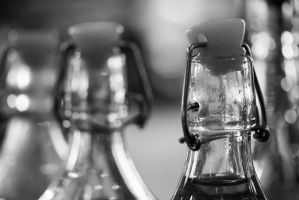 Glass Bottles in a Hipster Cafe by wellthisis-awkward