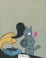 Cat Playing Record by dethpsun