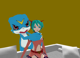 Miku : I do not have a head of Veemon ! by JackFrost-LCDA