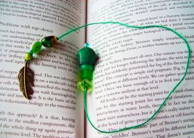 Green Book Thong Bookmark with Feather Charm by WhimsyWave