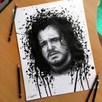 Jon Snow Splatter Drawing + video by AtomiccircuS