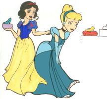 Cinderella and Snow White by wolfypuppy