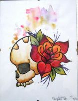 Skull with Rose by IAteAllMyPaste