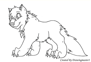 Chibi Wolf Lineart by DrawingMaster1