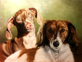 Oil Painting Dachshund Commission by SuzanneMoseley
