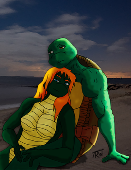 Raph And Mona on the beach by AlexanderWolfe