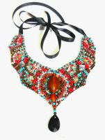 coral tirquoise beaded necklace by AniDandelion