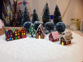 Gingerbread houses with lights by Almadejonge