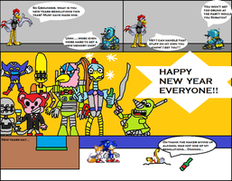 New years party with the badniks by scifiguy9000