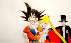 Usagi Tsukino and Son Goku T.A by Krizeii