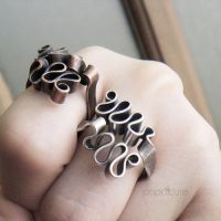 Ribbon Scribble Rings by popnicute