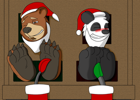 Santa Bears on the Fire Place. by ChaosGreiga