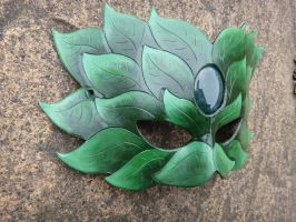 Green Man leather mask -side view by Masktastic
