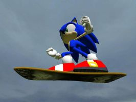 Sonic on a Hoverboard 3 by SilverSpiritUK