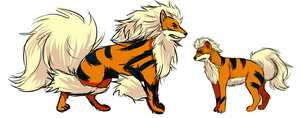 Arcanine + Growlithe by Nullifie