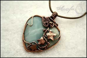 Amazonite heart with vine by amorfia