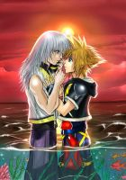 Riku x Sora - Sunset by Autumn-Sacura
