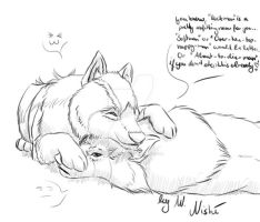 RM WN: Forte and Rock wolfhug by WoelfinNishi