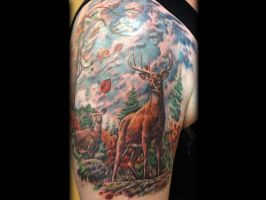 Bucks with Leaves Tattoo done by Sean Ambrose by seanspoison