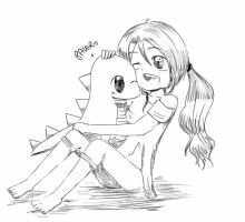Me and Mr. Dinosaur c: by xJewiex