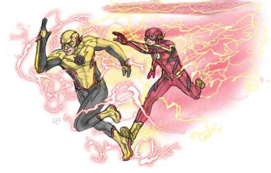 Barry and Eobard Sketch by DeanLeoWinchester
