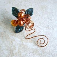 Blue Fairy Amber Ear Cuff Vine by Thyme2dream