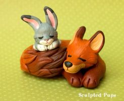Fox and bunny sculpture