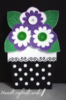 Black Flower Pot - Mother's Day Card by HandCraftedCards