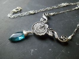 Teal Quartz Shell and Fish Mermaid Necklace by QuintessentialArts
