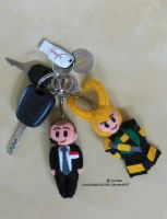 Coulson and Loki mini-plushies by ChaosNDisaster