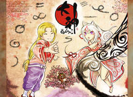 Okami tribute- Waka and Amaterasu by hyuugalanna