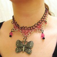 Pink and Black Butterfly Necklace by merigreenleaf