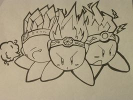 Three Kirbys Lineart by MissDrawsAlot