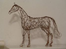 Copper wire sculpture of a standing horse by choccy-uk
