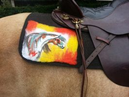 Indian Pony Felted Wool Paintings Saddle Blanket by Patcake