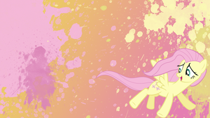 Fluttershy Splatter Wallpaper by brightrai
