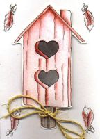 Pink Birdhouse Notecard by concettasdesigns