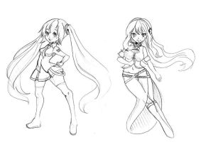 Doodles 1 (Miku and Luka) by MountainOfFeathers