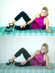 Laura on the Pool Couch by tigerphotography