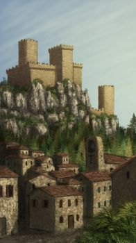 Town with hilltop fort by Serio555