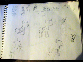 Early (and only) pony sketches from a year ago. by GlitchMaster7